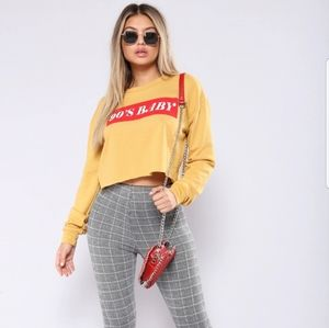 Fashion nova 90's baby mustard cropped sweatshirt